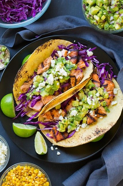 Grilled Salmon Tacos with Avacado Salsa -- yes please!!
