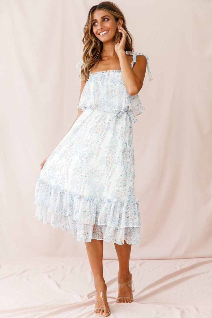 Maeve Shoulder Tie Layered Ruffle Dress White Layered Ruffle Dress White Dress Ruffle Dress [ 1100 x 733 Pixel ]