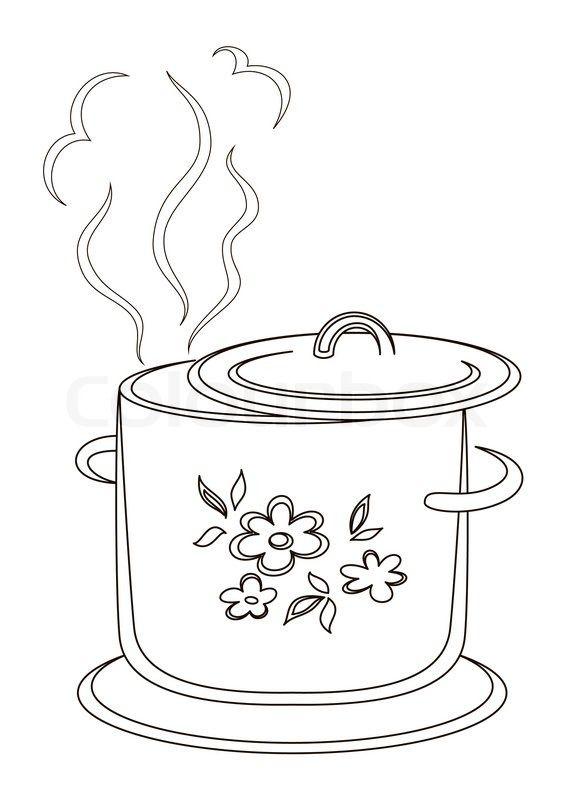 Kogende gryde med mønster, konturer | Stock Billede | Colourbox on Colourbox