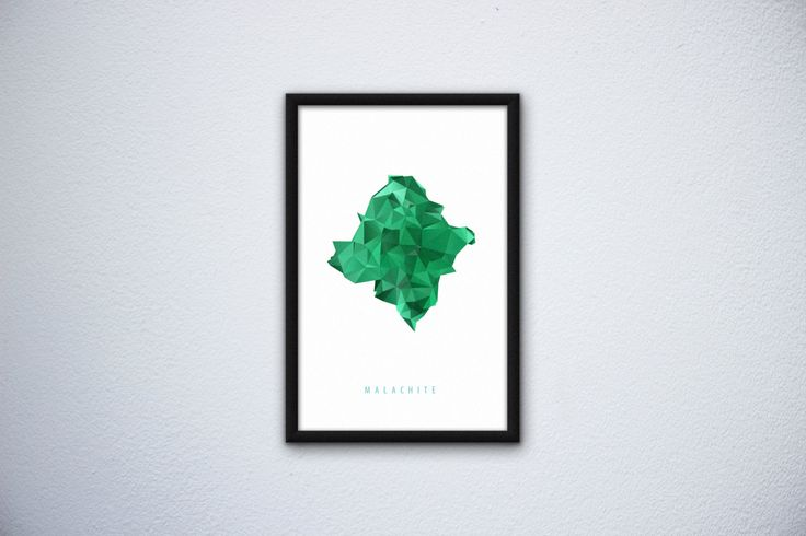 Mineral poster Malachite by SliwkaGraphics on Etsy