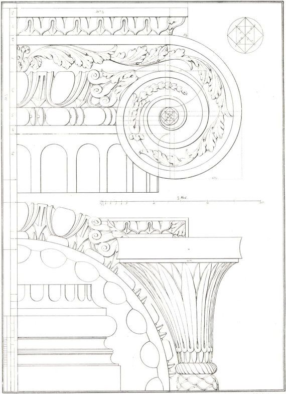 1842 Architectural Print Palladio,  Four Books of Architecture, Volutes,  Plate 14