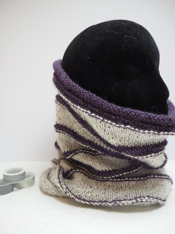 98fe0014ea9ce Grand Som hand knitted neck warmer cowl scarf in soft alpaca. Grey and  purple wrap. Winter gift for her. by OneCreativeCatStore