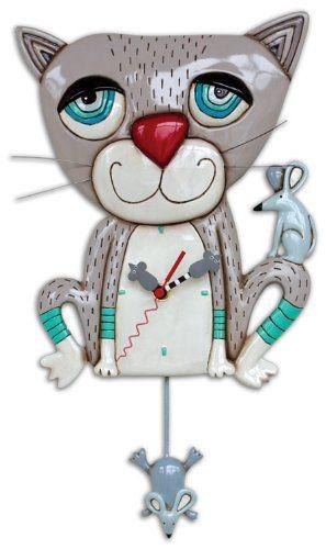 "Allen Design Studios ""Mouser"" Kitty Cat Wall Clock Allen Designs http://www.amazon.com/dp/B00HUFNV9A/ref=cm_sw_r_pi_dp_RimZub1WT7CS0"