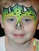green rhino face paint horns reptile