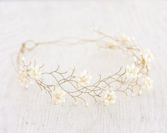 Flower hair accessories Gold wedding headband Bridal by ArsiArt
