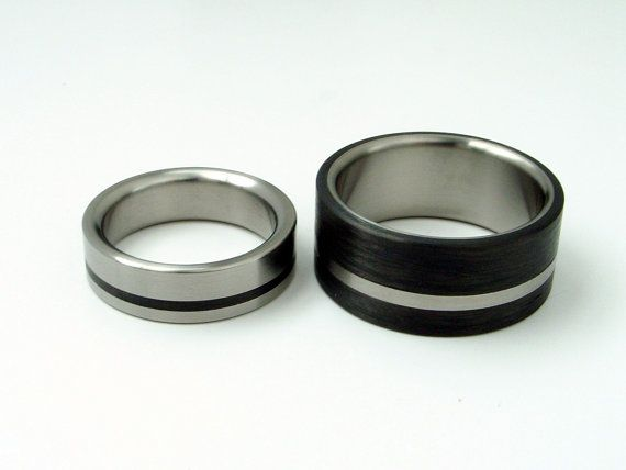 Black and white his and her wedding bands. <3 Customizable. Love.