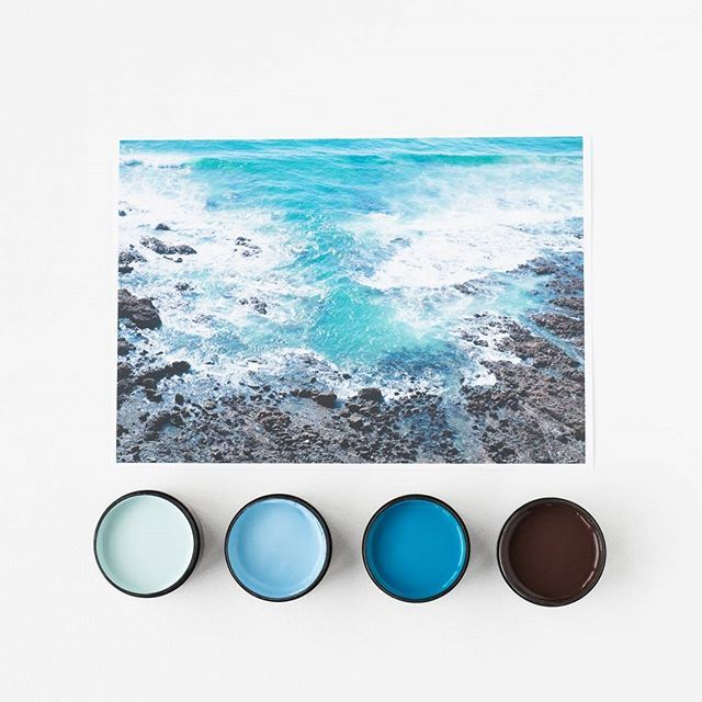 Happy New Year! We hope you have a fun and safe evening tonight. Turquoise Coastline by @amberarmitage_. Testpots from left in Resene Kumutoto, Resene Subzero, Resene Guru and Resene Sepia. Available at @endemicworld #Resene #Resenepaints #holidayvibes #artprints #colourpalette #summer #flatlay