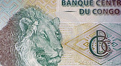 Lion`s head on 20 Francs 2003 Banknote from Congo.n