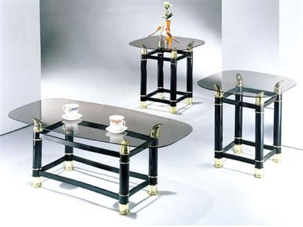 Awesome Pack Tube Black Finish Horn Coffee/end Table Set We/ Smoky Glass By Acm  Furniture