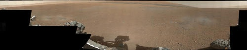 The first images from Curiosity's color Mast Camera were received by scientists at NASA's Jet Propulsion Laboratory in Pasadena, Calif. (via NASA)