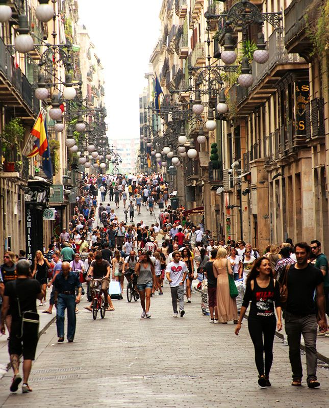 Street in Barcelona city centre.