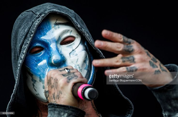 Johnny 3 Tears of Hollywood Undead sings during a show as part of the Maximus Festival at Parque de la Ciudad on September 10, 2016 in Buenos Aires, Argentina.