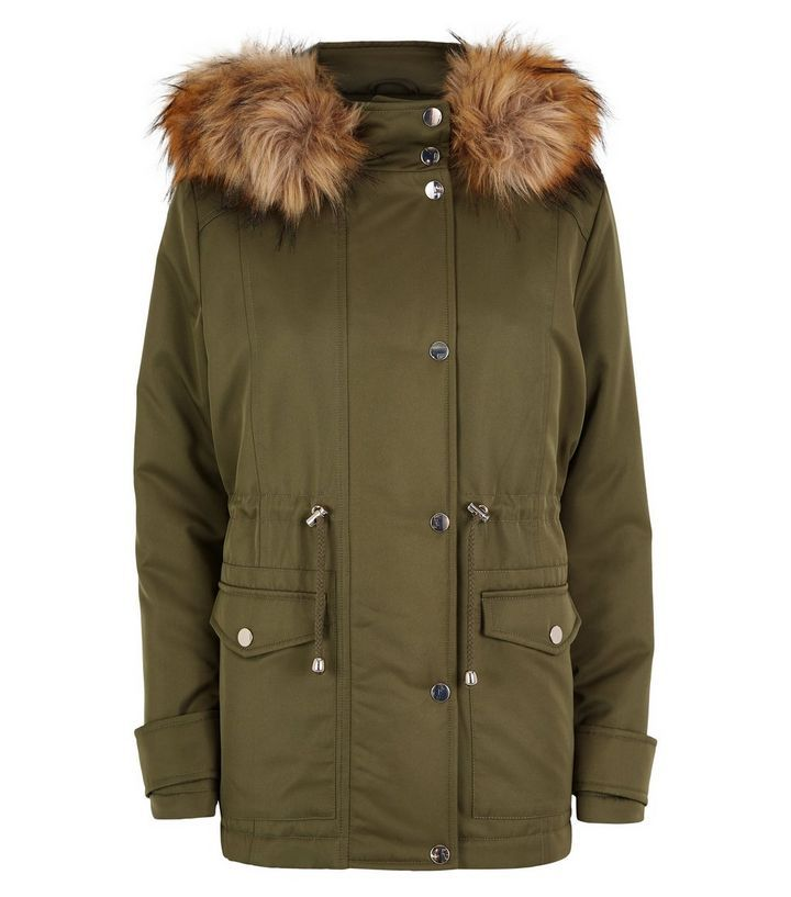 Petite Khaki Faux Fur Trim Hooded Parka | New Look