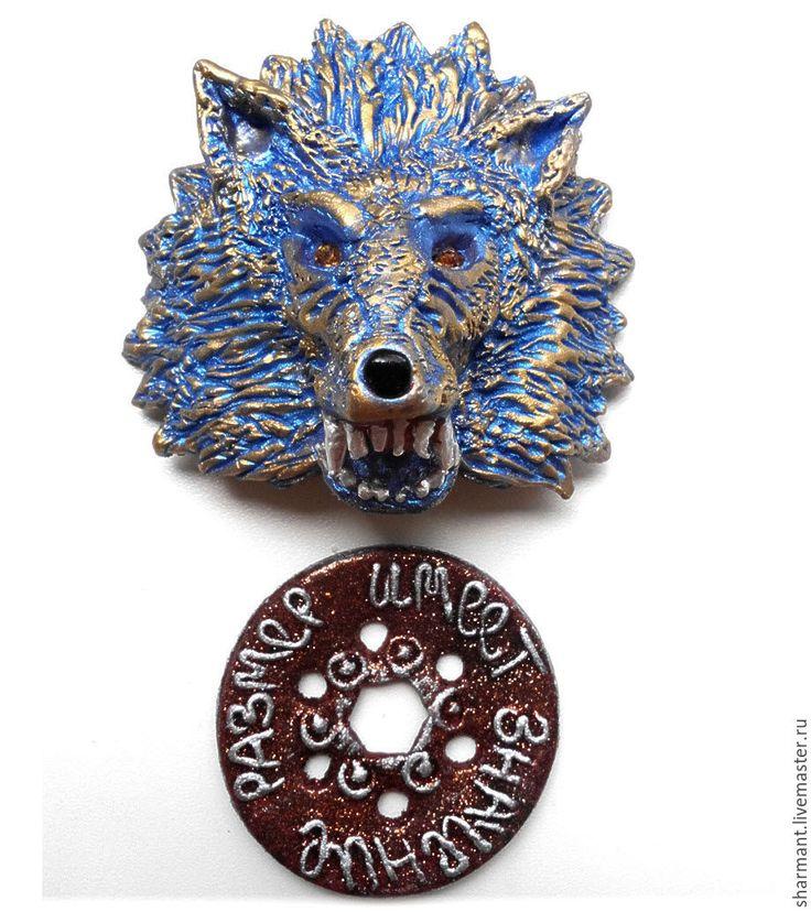 """Купить """"Волк"""", подвеска в салон автомобиля - синий, синий волк, бронзовый волк, голова волка"""