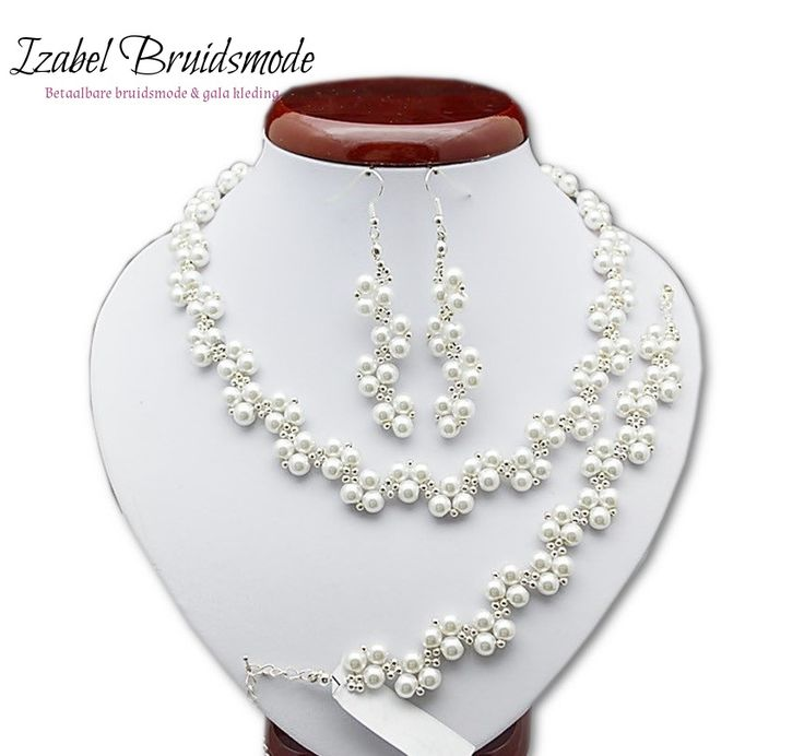 Bruids sieraden met parels/Bridal jewerly set with fake Pearls (handmade)