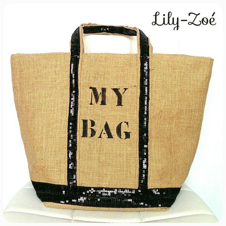 Cabas toile de jute tagué MY BAG sequins noir via La Boutique de Lily-Zoé. Click on the image to see more!