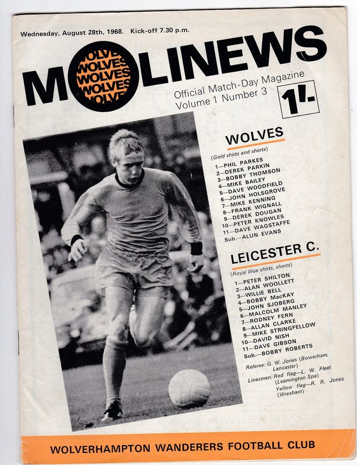 Vintage Football (soccer) Programme - Wolverhampton Wanderers v Leicester City, 1968/69 season by DakotabooVintage on Etsy #football #soccer #wolves #wolverhampton