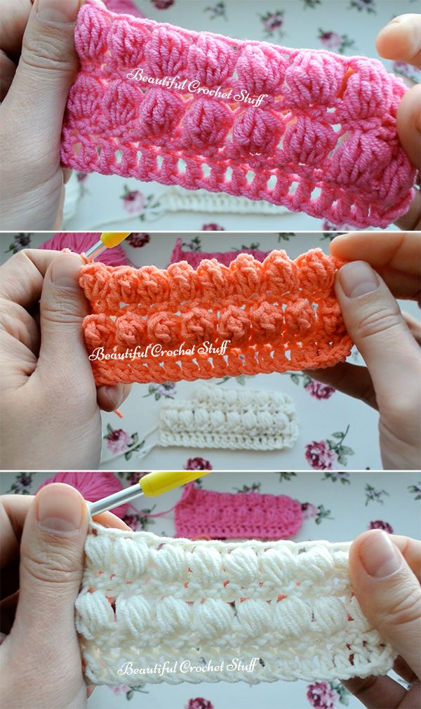 Many crocheters are confused about the difference between crochet bobble, pop corn and puff stitches.