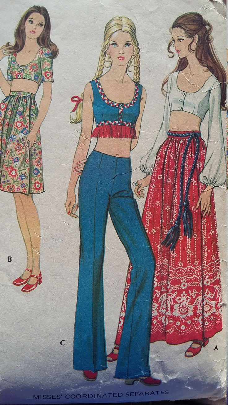 Vintage McCalls Sewing Pattern Size 14 Side Wrap Skirts, Below Waist Pants, and Bare Midriff Top by SerendipityinMay on Etsy