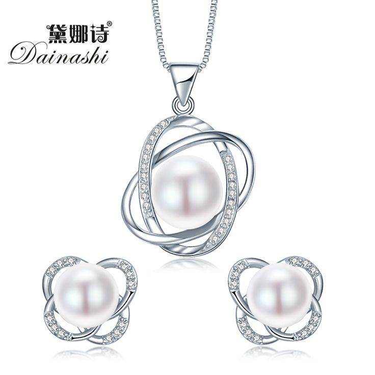 findout 925 sterling silver natural freshwater pearl 9 -10 mm pendant necklace. for women girls wedding party U6EfEiGt
