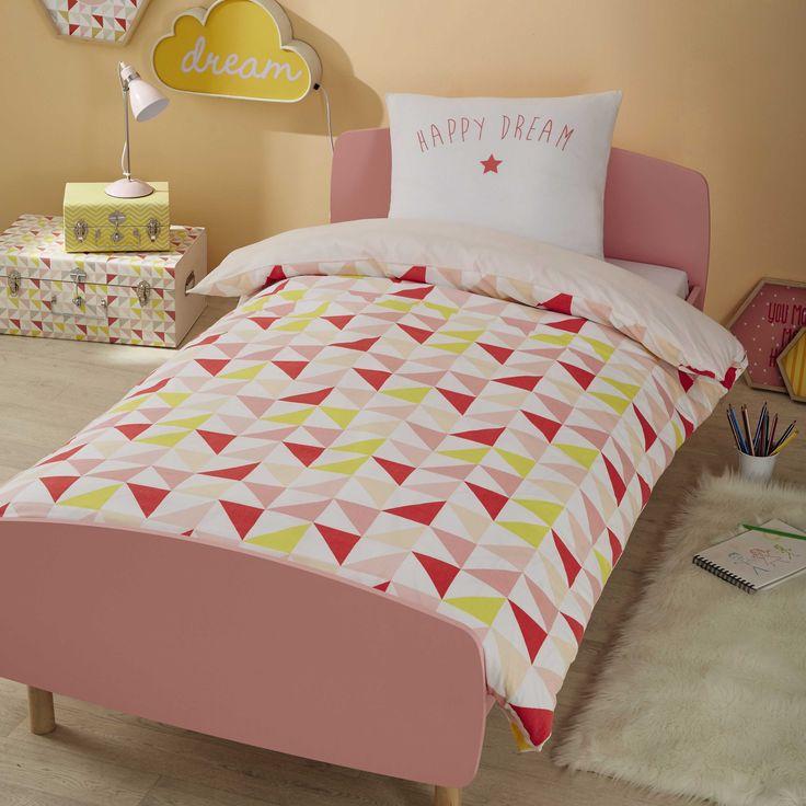 Parure de lit enfant 140 x 200 cm en coton rose/jaune HAPPY DREAM | Maisons du Monde