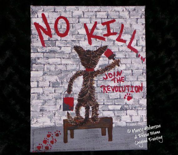 Cat Painting, Acrylic on Canvas, Pet Rescue Theme, 8x10, cat graffiti