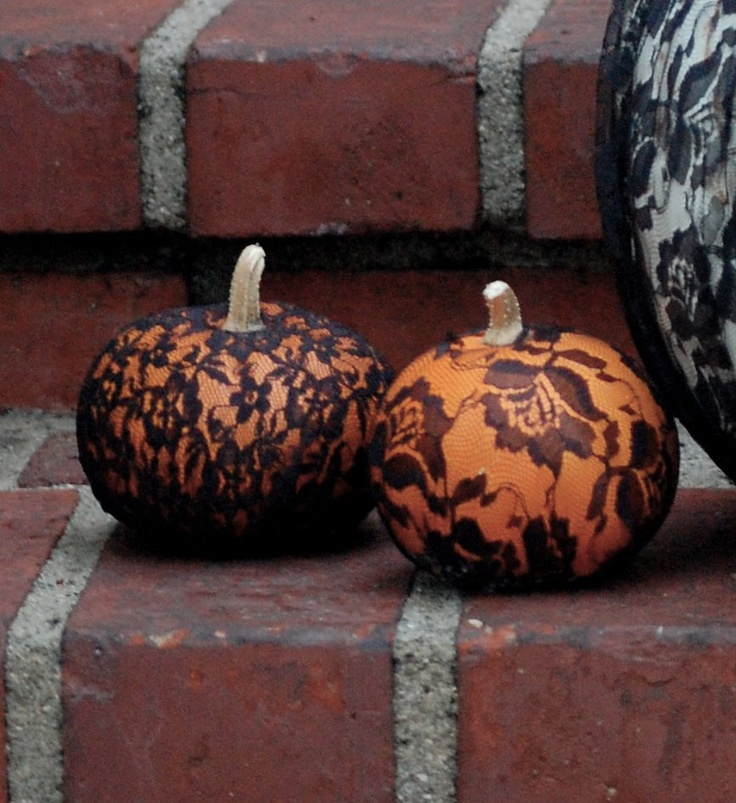 These ones have lace on them - I want to carve the pattern and paint the pumpkin black. - might be too much!