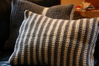 Crochet pillow cases - love the stripes and colours!