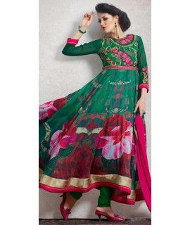 Blossom Green And Pink Silk Anarkali Suit.