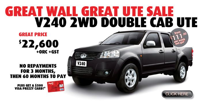Great Wall UTE Sale: V240 2WD Cab UTE