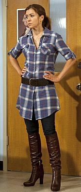Plaid dress, belt, brown boots/black boots (riding boots), black tights (Lily Aldrin/Alyson Hannigan)