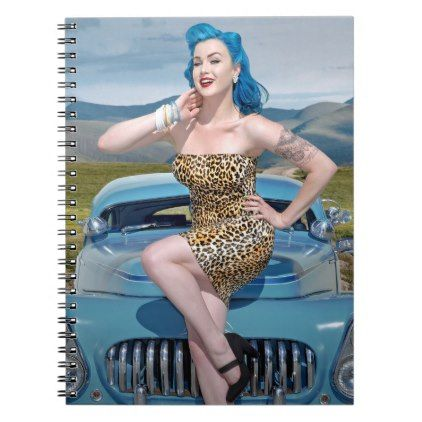 Jungle Jane Leopard Hot Rod Pin Up Car Girl Notebook - girl gifts special unique diy gift idea