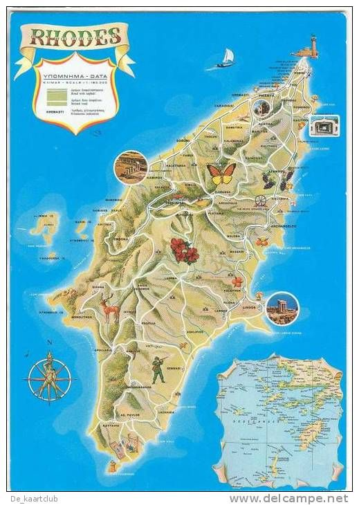 Map of Rhodes Island, Dodecanese, Greece