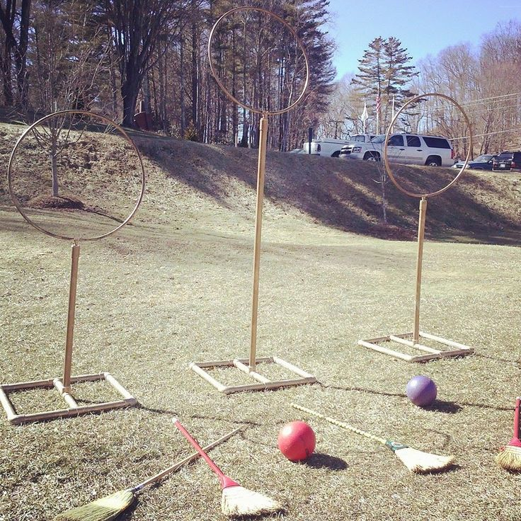 Our Quidditch goals made from PVC pipe and hoops! #broomsup