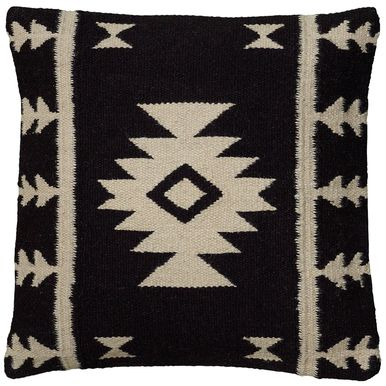 18 Inch X 18 Inch Black Decorative Pillow With Woven Southwestern Patten
