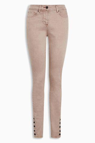 Buy Pink Popper Hem Skinny Jeans from the Next UK online shop