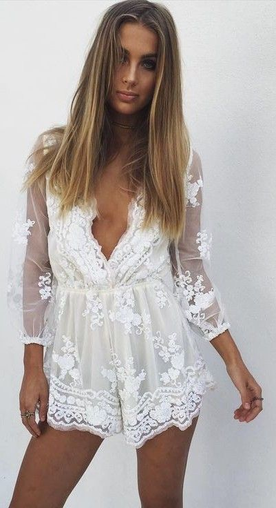 #summer #ultimate #outfits |  White Lace Playsuit