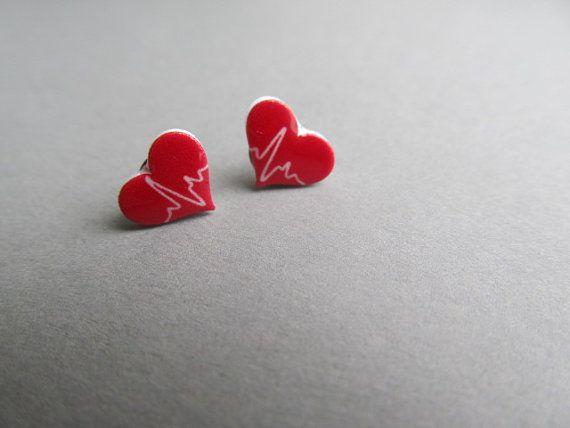 Heart Beat Stud Earrings for a Doctors or Nurse by IrisJane, $7.00 on Etsy