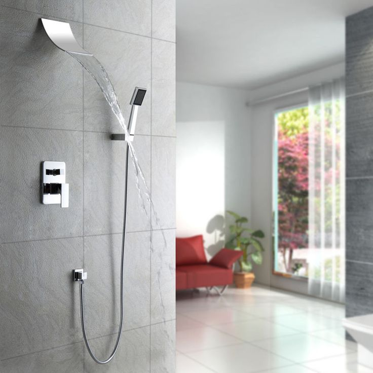 Shower With Hand Shower Part - 49: Modern Chrome Wall Mounted Waterfall Shower Mixer And Handshower Free  Shipping