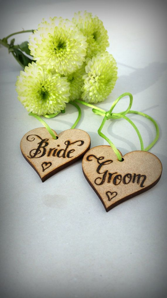 Personalized wooden tags for Bride and Groom by CoveCalligraphy