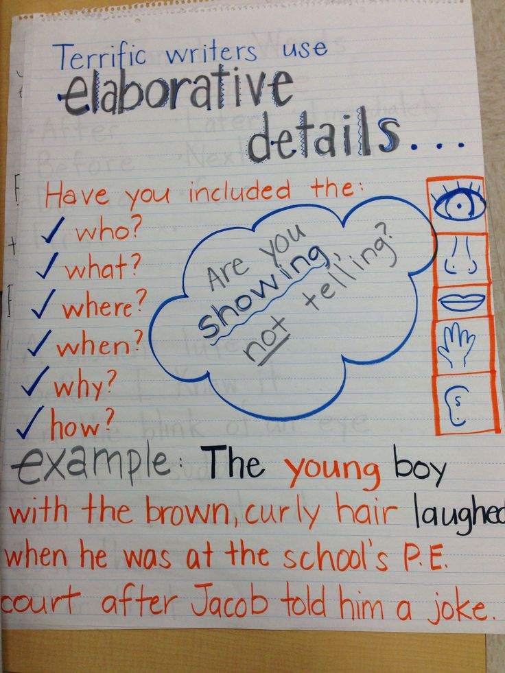 Elaboration, sensory details, writing, fourth grade (dead pin)