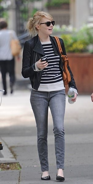 Casual stripes with an edgy twist. (Emma Stone)