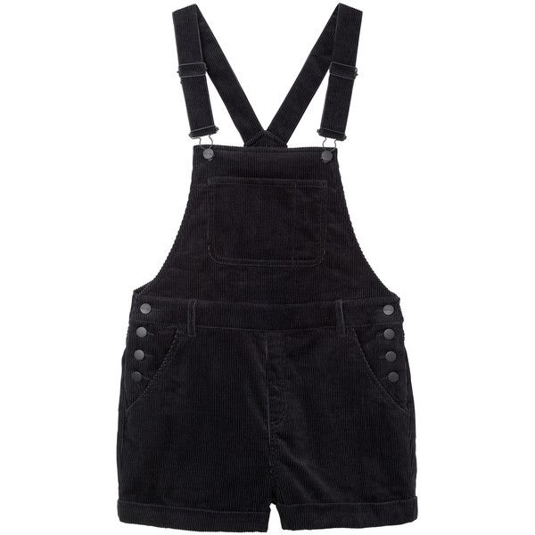 Monki Hanna cord dungarees ($40) ❤ liked on Polyvore featuring jumpsuits, rompers, shorts, overalls, dresses, bottoms, black magic, black overalls, short overall and overall