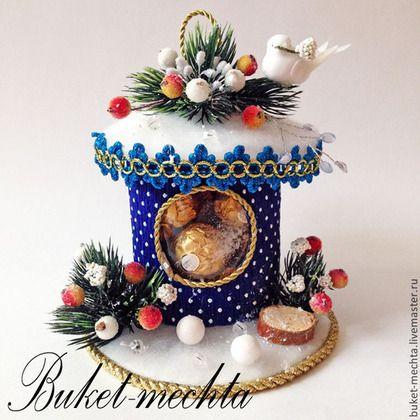 Новогодний домик - синий,домик из конфет,новый год,новый год 2015,сладкий подарок
