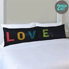 Love Letters Multi  Set of Two Pillowcases by OBC Multicolor