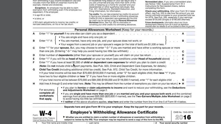 This video gives an example of a W4 tax form and interprets it to help you understand the various parts.