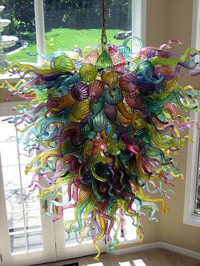 "Hand blown glass chandeliers: ""Malibu Chandelier"" 52"" x 60"""