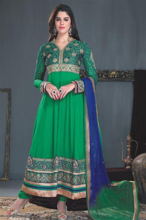 Designer Green Georgette Long Anarkali Suit