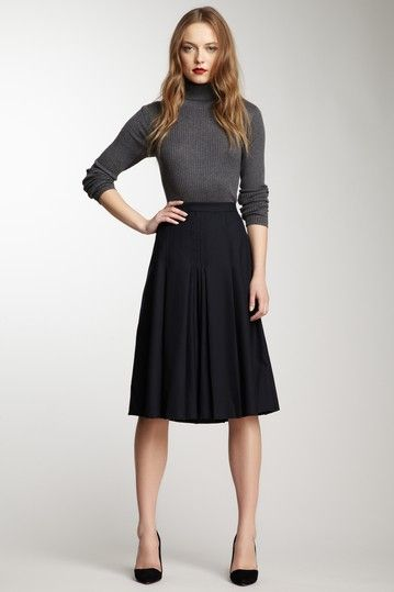 Gray sweater & black knee-length A-line Skirt w/ classic pumps