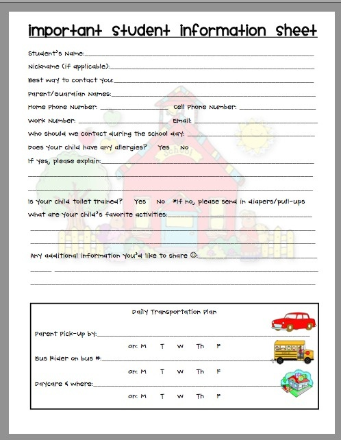 Best  Student Info Ideas Only On   Student Info Sheet